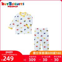 卡通汽车长袖MIKIHOUSE HOT BISCUITS宝宝分体睡衣套装粗框条纹