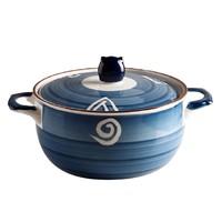 WUXIN 日式带盖陶瓷泡面碗 800ml