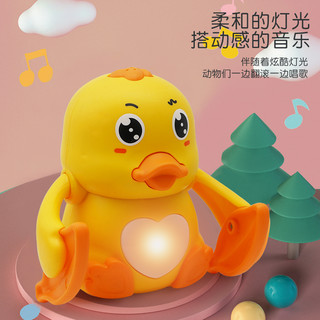 智慧鱼 有声电动翻滚小黄鸭+3节7号电池(送螺丝刀)