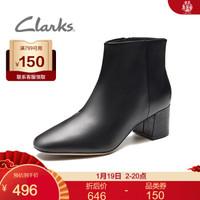 Clarks其乐女鞋Sheer Flora 时尚尖头高跟短靴女靴子 黑色261440764 37.5 *2件