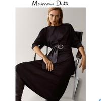 Massimo Dutti 06638757800  女士黑色圆领连衣裙