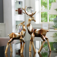 Hoatai Ceramic 华达泰陶瓷 几何鹿鎏金色一对