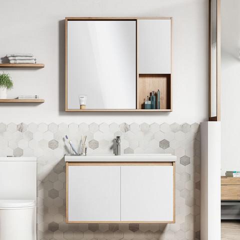 百亿补贴:日丰 实木浴室柜组合 镜柜款 0.6m