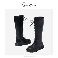 Snoffy 斯纳菲 女童秋冬加绒高筒靴长靴