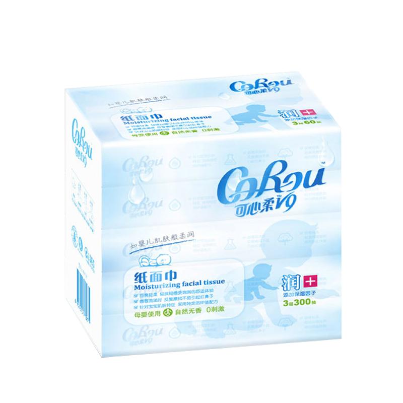CoRou 可心柔 V9婴儿柔纸巾宝宝抽纸云柔巾餐卫生纸家庭装整箱3层60抽5包