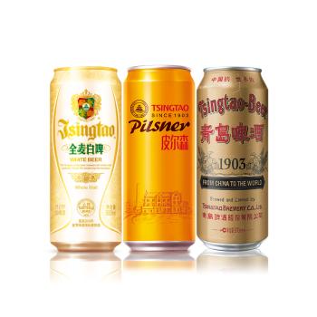 青岛啤酒精酿组合全麦白啤4听+皮尔森4听+国潮罐4听 *4件