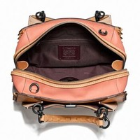 COACH 蔻驰 奢侈品 专柜款 女士混合象牙白色光滑皮革拼色锁缝DREAMER单肩手提包 69612 V5OR4