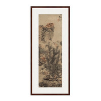 水墨画《秋山渔隐图》蓝瑛 背景墙装饰画挂画 茶褐色 74×167cm