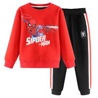 迪士尼冬季新款加绒卫衣套装上衣+长裤中大童男童
