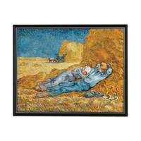 梵高人物风景油画《午休》沙发背景墙挂画 爵士黑 90*73cm