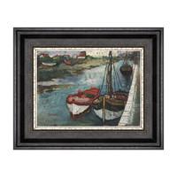 现代简约 风景油画《船》潘玉良 装饰画 爵士黑 33×26cm