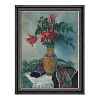 静物风景油画《珐琅彩瓶与郁金香》潘玉良装饰画 53×68cm