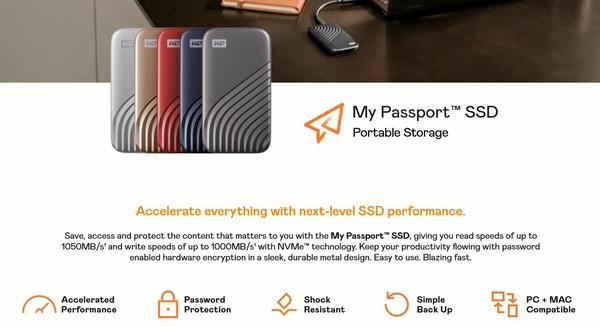 小编精选:WD 西数 My Passport 随行SSD版 Type-C移动固态硬盘 1TB