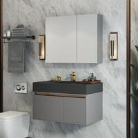UNILER 联勒 实木浴室柜套装 全面镜柜  英伦灰80cm