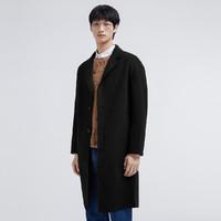 GXG 新品秋冬男款时尚修身多色长款羊毛大衣 GY126024GV000 黑色 S