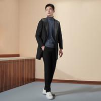 羊毛混纺时尚连帽长款针织男士大衣/外套