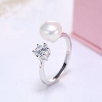 瑞妮莎 闪魅8-9mm淡水珍珠戒指指环 开口戒圈 活口女