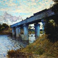 莫奈《阿尔的铁路桥》89×70cm 装饰画 油画布