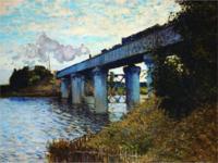 雅昌 莫奈《阿尔的铁路桥》89×70cm 装饰画 油画布