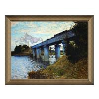 莫奈油画《阿尔的铁路桥》装饰画 典雅栗(偏金色) 89×70cm