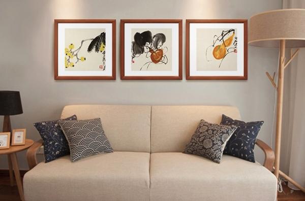 齐白石《葫芦图》背景墙装饰画挂画 尺寸:47×47cm 原木色