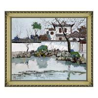 现代简约新中式风景油画《古潭》庞均 宫廷金 63×54cm
