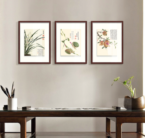 新中式客厅装饰画餐厅小挂画玄关壁画石榴国画 项圣谟-花卉集