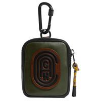蔻驰(COACH) 奢侈品 男士专柜款迷你款零钱包橄榄色拼色光滑皮革 76332 P2T