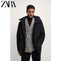 ZARA 00706404800 男装灰鸭绒中长款羽绒服外套