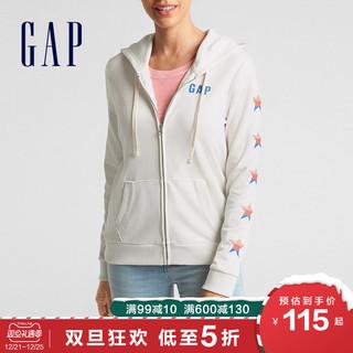 Gap女装拉链卫衣秋冬256942 E LOGO星星印花时尚运动开衫外套 *3件