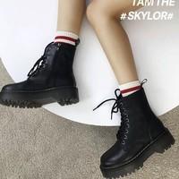 Teenmix 03MU1DD0 女士厚底马丁靴短款