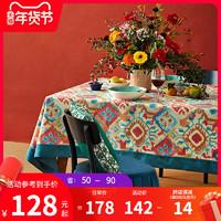 蠟筆派印第安羊毛美式餐桌布茶幾新年圓餐桌布藝節日長方形臺布