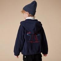 男童外套2020秋冬双面摇粒绒连帽UFO图案夹克外套
