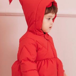 Mini Balabala 迷你巴拉巴拉 6620 女童羽绒服 中国红 100cm
