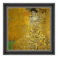 克里姆特油画《布洛赫·包尔太太》沙发背景墙装饰画 爵士黑 52×52cm