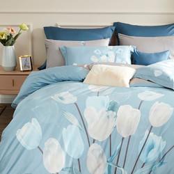 LUOLAI 罗莱家纺 四件套纯棉贡缎床上用品清新床单被套单双人床品套件  蓝梦郁金香 1.8米床 220*250cm