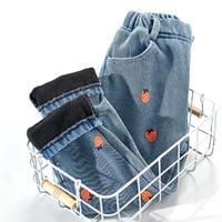 女童裤子2020冬装新品儿童长裤休闲印花加绒保暖牛仔裤潮