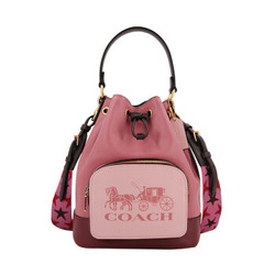 蔻驰 COACH 奢侈品 女士小号单肩斜挎水桶包藕粉色拼粉色皮质 1899 IMROL