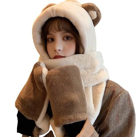 Semir 森马 SS91228 小熊帽子围巾一体三件套