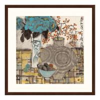 水墨画《春如旧》袁野 沙发背景墙装饰画挂画 茶褐色 88*88cm