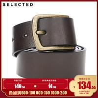 SELECTED思莱德男士新款商务休闲肌理感牛皮革皮腰带A|4193LB506