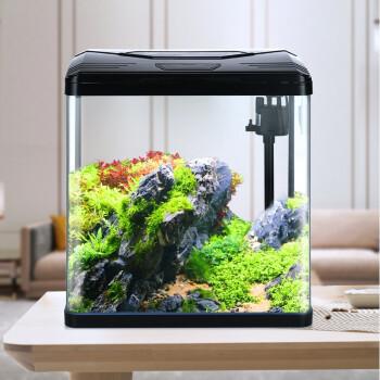 意牌(YEE)230黑色标配 小鱼缸懒人免换水迷你小型水族箱 高清热弯玻璃230*160*285mm *2件