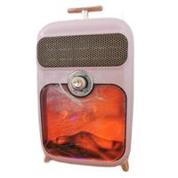 格库(GRECOOK)取暖器家用小型静音暖风机省电浴室办公室热风机节能电暖器小太阳速热火焰1500W 粉红色