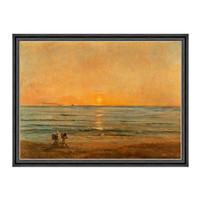风景油画《落日与渔夫》杜比尼 背景墙装饰画挂画 114×85cm