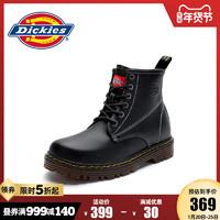 Dickies马丁靴女英伦风冬季加绒2020新款真皮中筒靴厚底黑色短靴