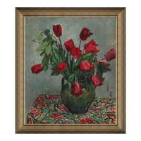 艺术品 风景油画《碎花布与红色郁金香》潘玉良 64×56cm