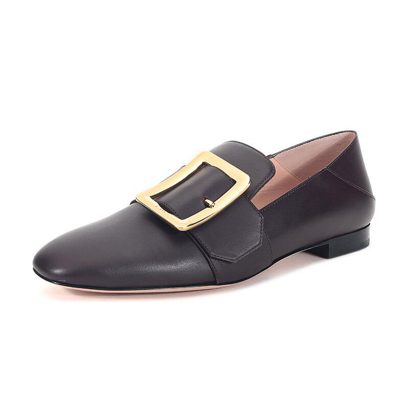 BALLY 巴利 JANELLE系列 女士皮质平底单鞋 6228180 棕褐色 36