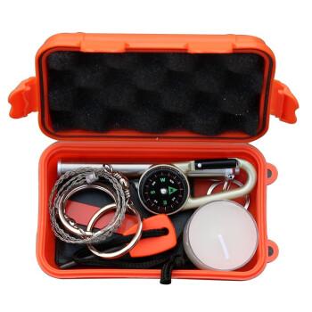 万马堂户外装备求生宝盒生存工具套装多功能野外急救盒应急用品8件套口哨电筒蜡烛线锯 求生盒-八件套
