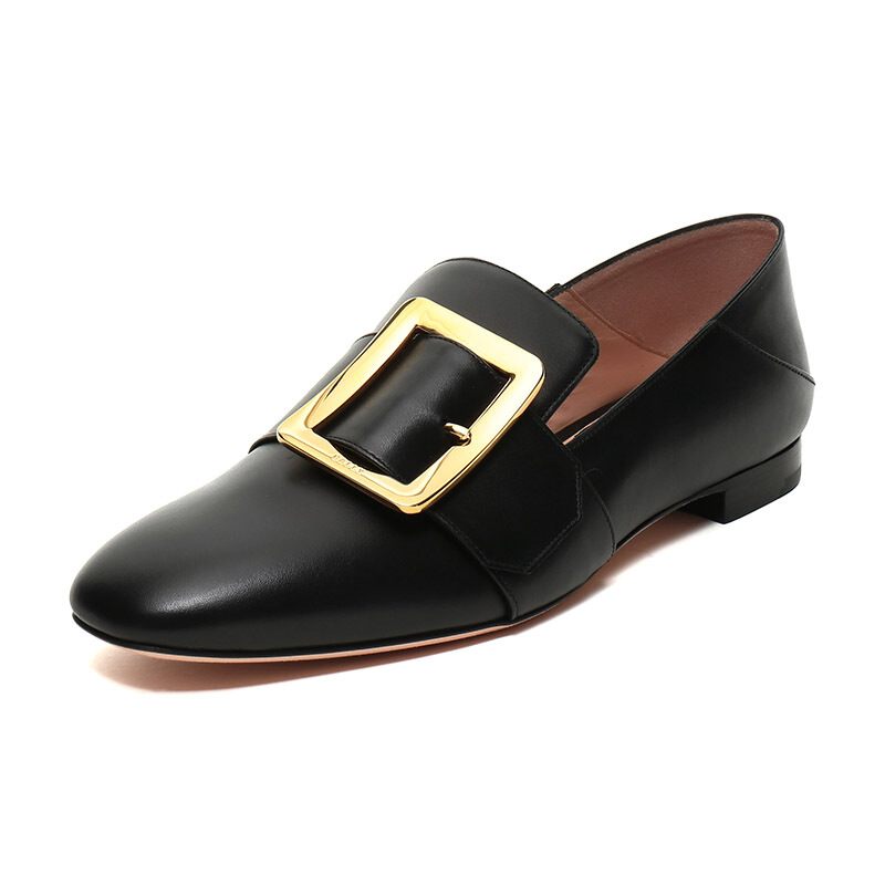 BALLY 巴利 JANELLE系列 女士皮质平底单鞋 6228181 黑色 35