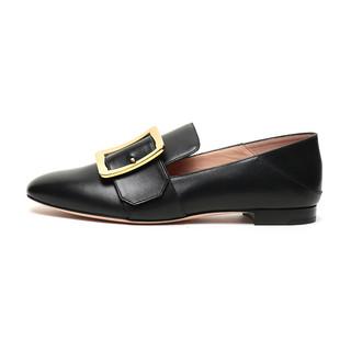 BALLY 巴利 JANELLE系列 女士皮质平底单鞋 6228181 黑色 37.5